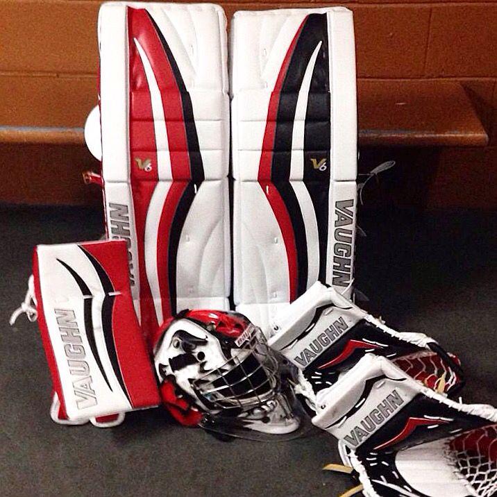 Here We Have Anthony Brodeur S New Vaughn Velocity 2300 Setup Hockey Equipment Goalie Gear Vaughn