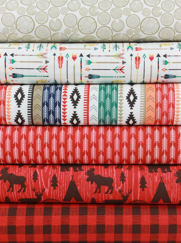 """Design by Dani for Riley Blake, High Adventure, Red 5 Total  Each 1/2 Yard measures: ~18"""" x 44/45""""  You will receive a 1/2 yard of each of the following:  Wood Cream Arrow Cream Tribal Multi***Pictured but not longer available Stripe Red Main Red Plaid Red  Fiber Content: 100% Cotton  If you would like to have 1 full yard of each, please enter 2 in the Qty Box.  Yardage is cut in one continuous piece when possible.  Hoverover image for a larger, better view.  Care Instructions:  To…"""