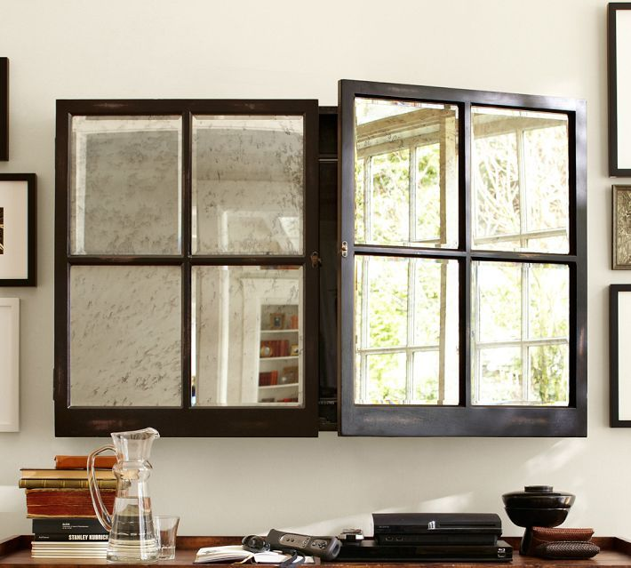 Mirror Cabinet Media Solution Pottery Barn An Option For Hiding A Flat Screen Tv