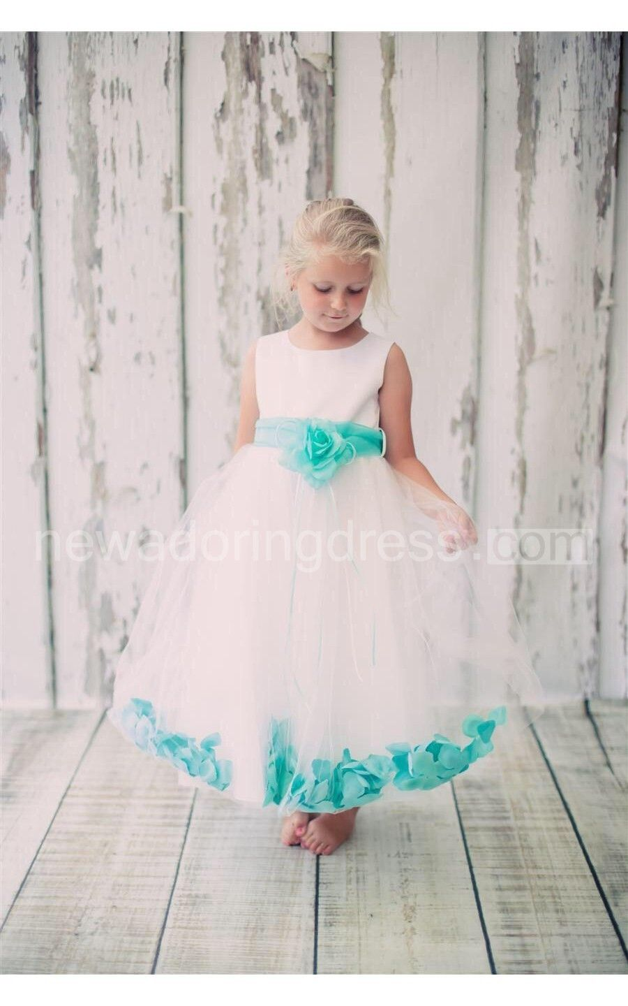 Satin Bust Pleated A Line Tulle Dress With Floating Petals And