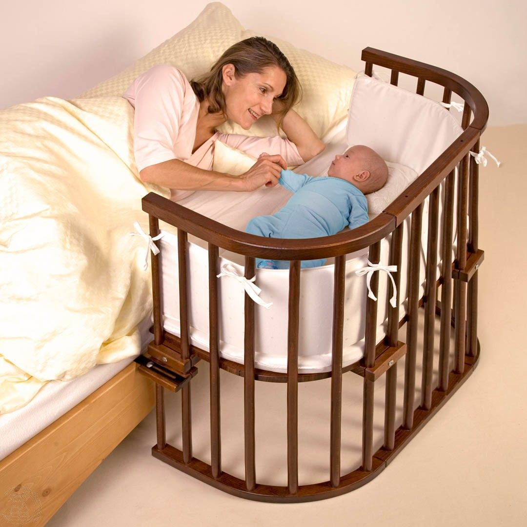Wooden crib for babies - Bed Side Baby Bed Babybay Co Sleeping Cot Dark Wood Saver Pack