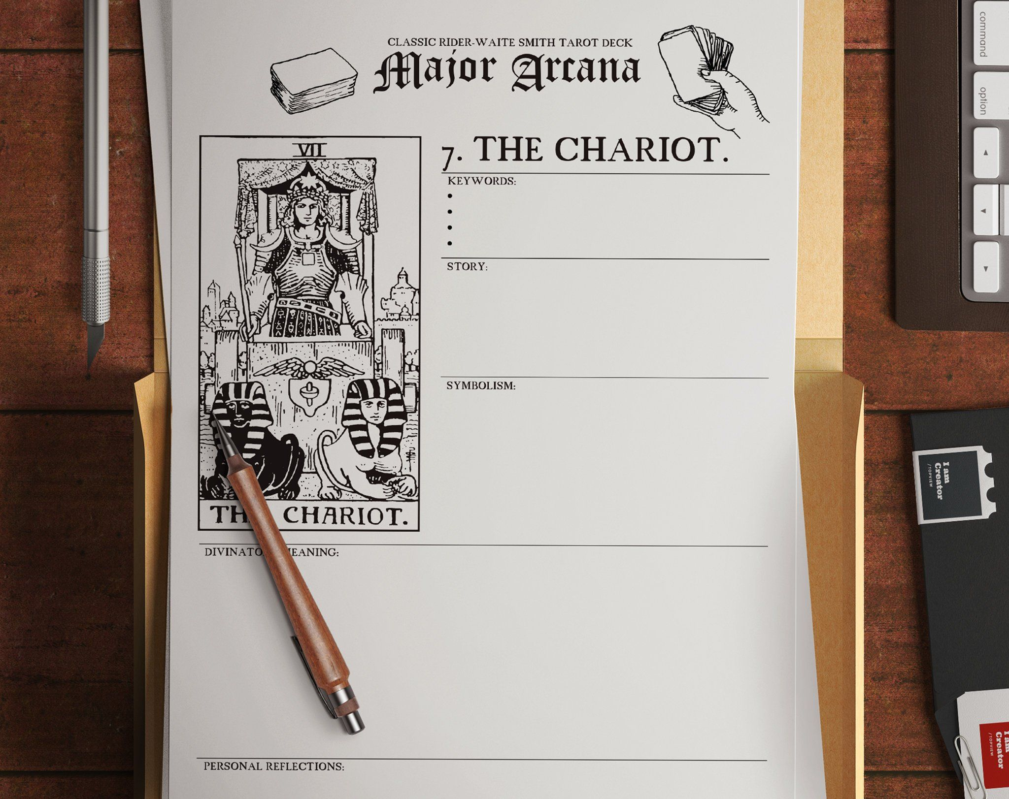 Printable Tarot Worksheets Major Arcana