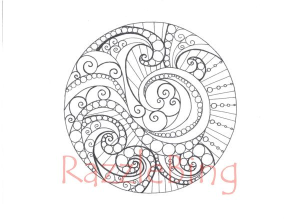 Printable Coloring Page Zentangle Inspired Dizzy Mandala Zendoodle Doodle PDF Instant