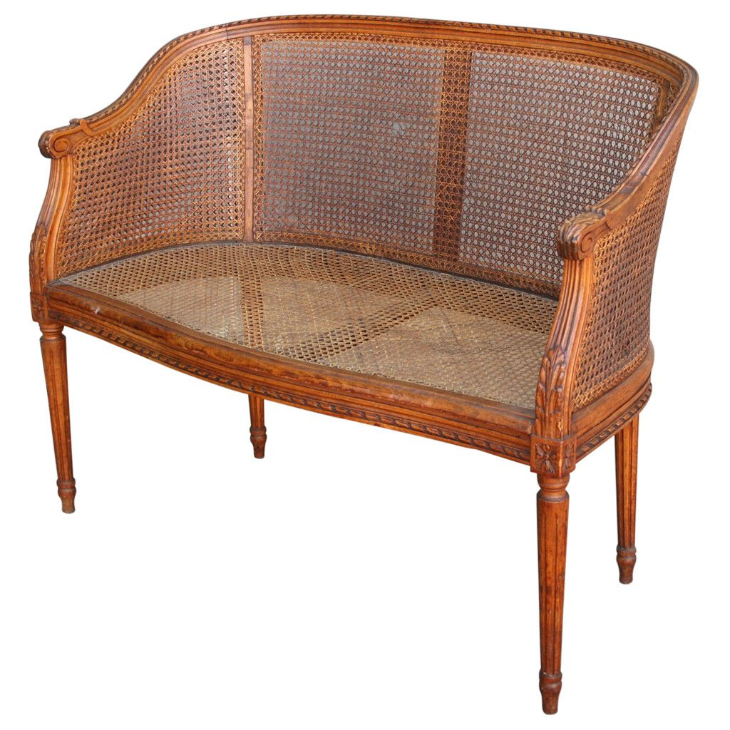 Hand Carved Walnut Louis Xvi Style Banquette With Caned