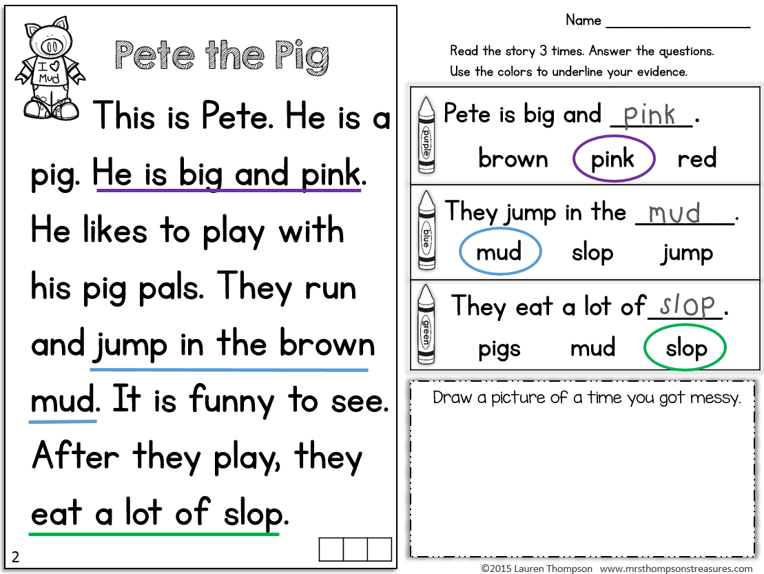 Worksheet Kindergarten Reading Comprehension Passages 1000 images about reading comprehension on pinterest heather o orourke
