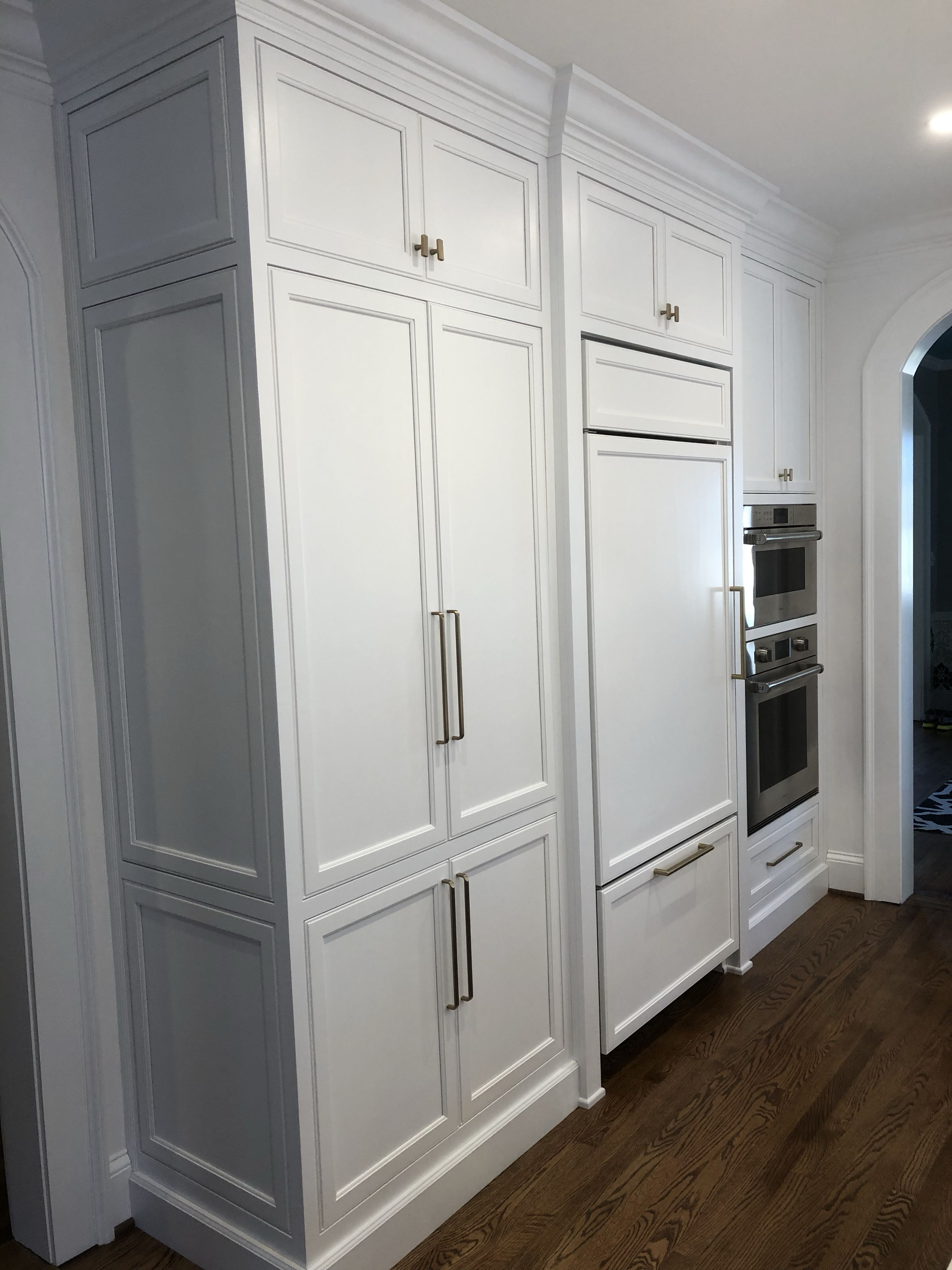 Finished Kitchen Chantilly Lace White Cabinets With Inset Shaker Style Doors And Drawer Fr Refrigerator Panels Open Concept Kitchen Living Room Pantry Cabinet