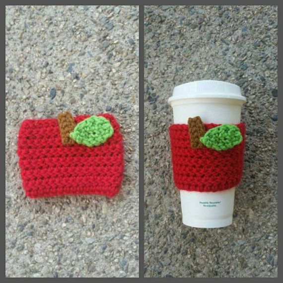 Check out this item in my Etsy shop https://www.etsy.com/listing/239791442/crochet-apple-cup-cozie-fits-most-cups