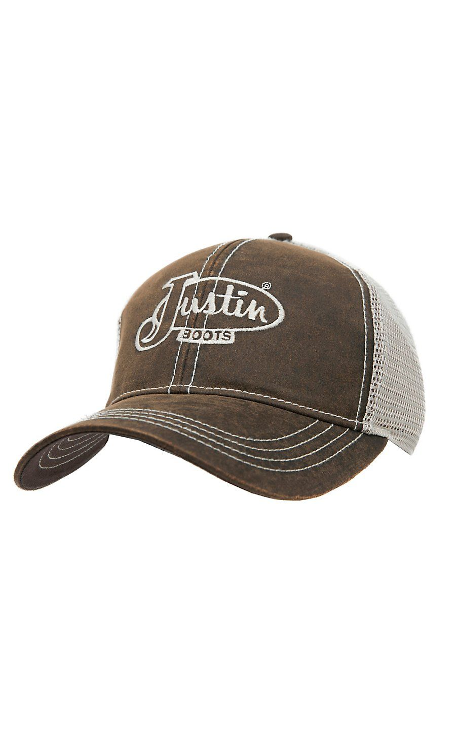 2cffe0741a6d8 Justin Boots® Brown Oilcloth with Cream Mesh Back Logo Cap