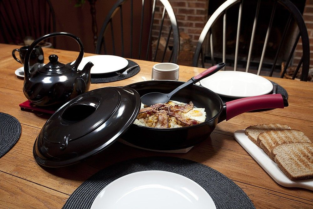 """Ceramic Skillet 12"""" with Cover and Silicone Handle"""