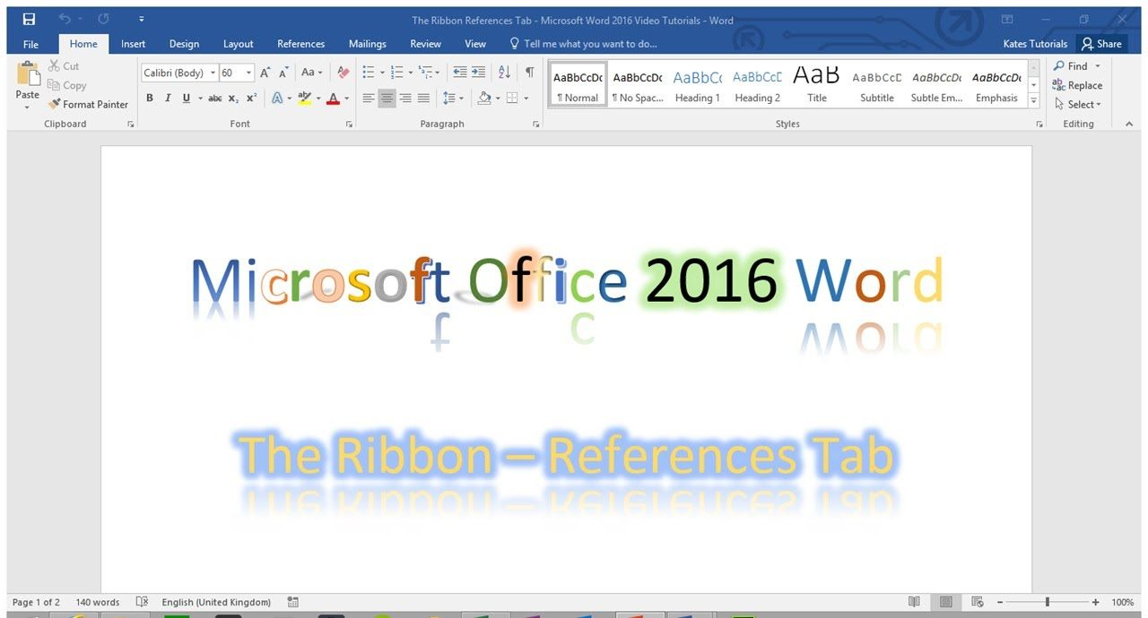 Tutorial of the References Tab - The Ribbon - Word 2016 | Words. Microsoft office