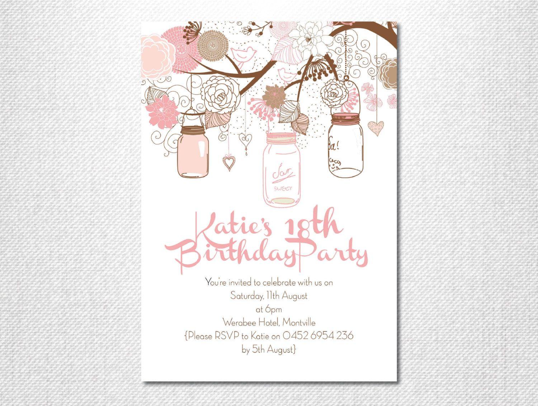 Pink Mason Jar ~ Mason Jar ~ Garden Party ~ Garden Invitation ...