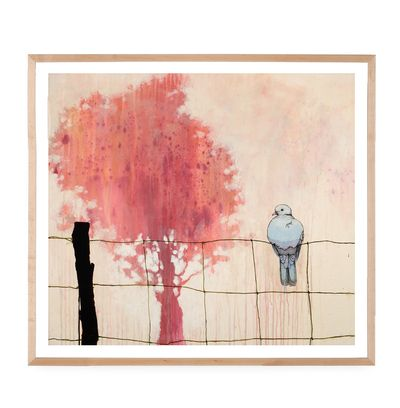 $239.99 Reseda Dove By Sage Vaughn - Part of L.A.-based artist Sage Vaughn's Wildlife series, this HomeMint exclusive print was named after the neighborhood he grew up in and depicts a blue dove perched on a wire fence with a crimson tree in the background. Vaughn is celebrated in the art world for his beautiful renderings that juxtapose untouched scenes in nature with city settings.