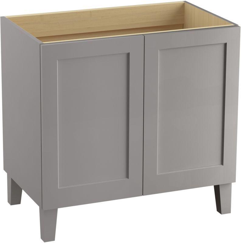 "Kohler K-99531-LG Poplin 36"" Vanity Cabinet Only - Free Standing Installation Ty Mohair Grey Fixture Vanity Single"