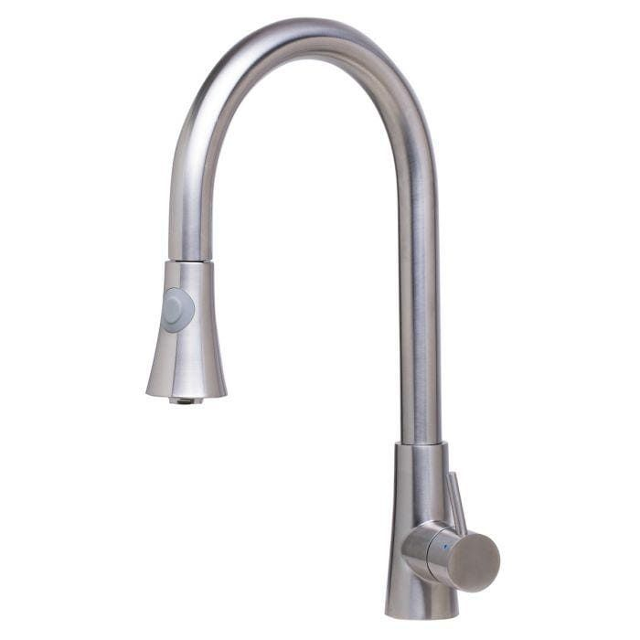 ALFI brand AB2034 Solid Stainless Steel Two Mode Pull Down Kitchen Faucet - Brushed Stainless Steel