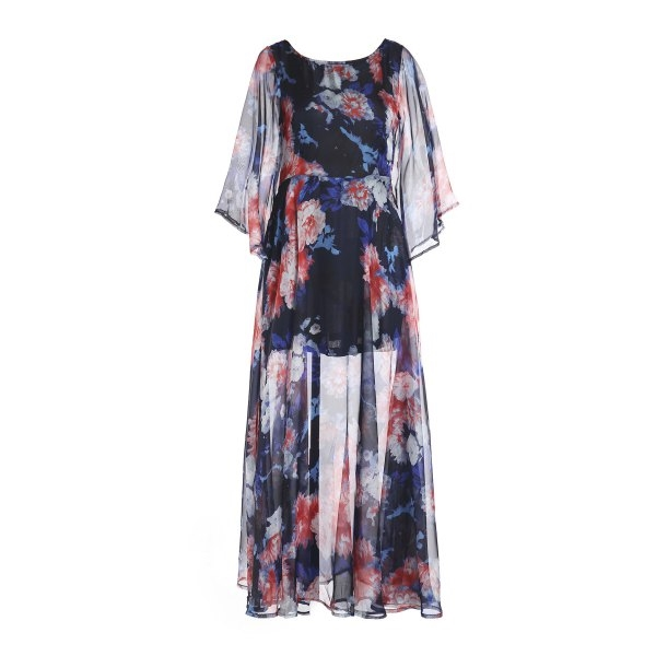 18.09$  Watch here - http://di97l.justgood.pw/go.php?t=150214302 - Women's Chic 3/4 Sleeve Color Block Floral Print Chiffon Dress