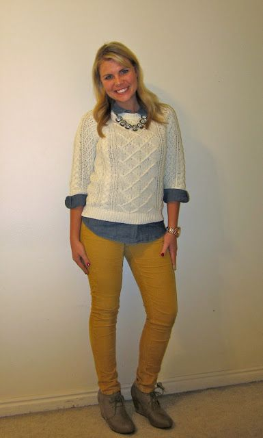 Sweater Over A Button Up Both In Neutral Ish Colors Mustard Pants
