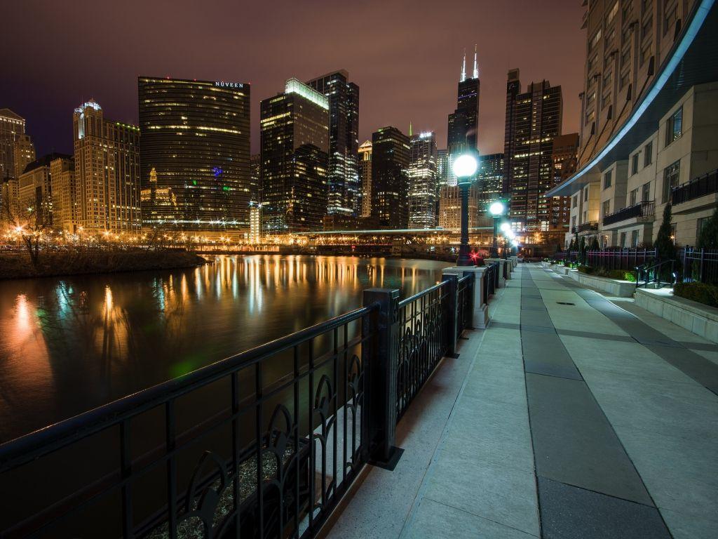 Chicago♥ Milwaukee city, Chicago at night, Night skyline