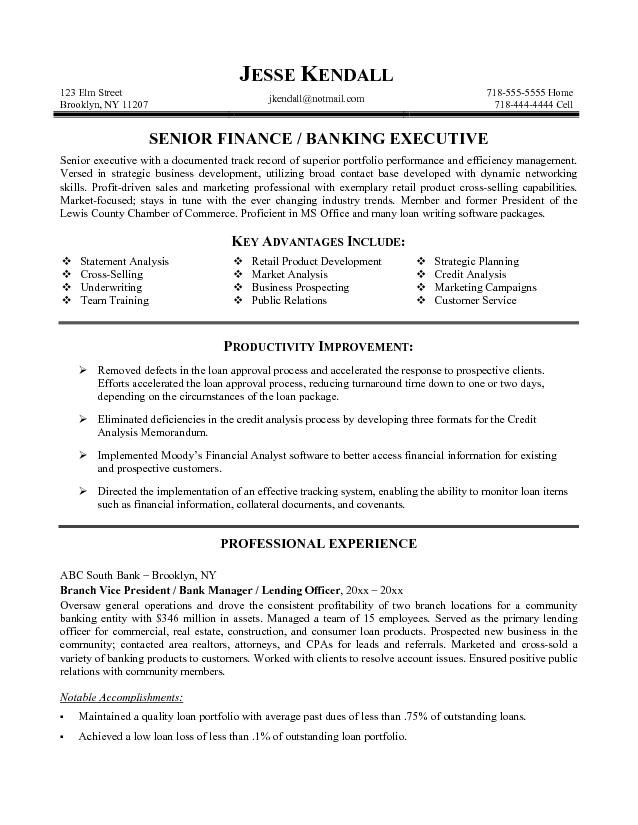 Banking Resume Format For Experienced generalresumeorg