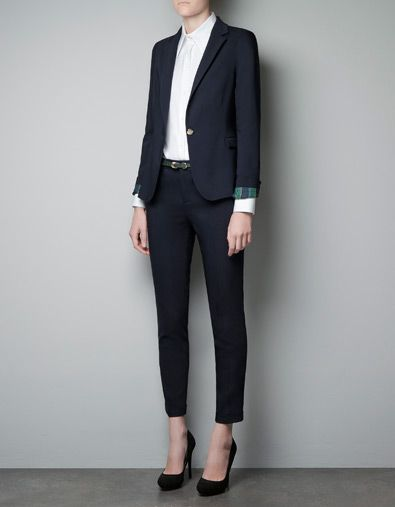 Single Button Blazer With Checked Lining Blazers Woman Zara United States Classy Work Outfits Fashion Work Outfits Women