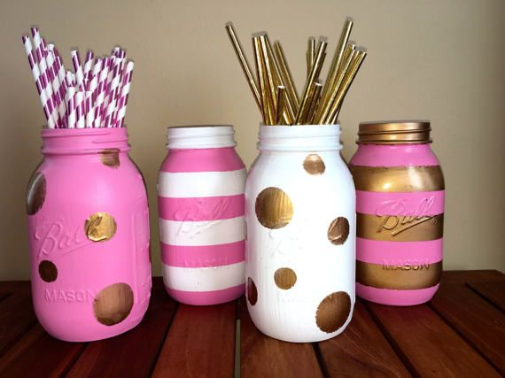 Items similar to Bridal Shower Mason Jar Set. Polka Dot and Stripes Mason Jars. Mason Jar Decor. Shower Centerpiece. Engagement Party. Wedding Centerpiece. on Etsy