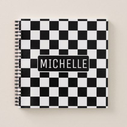 Personalized BW Checkered Notebook - pattern sample design template diy cyo customize