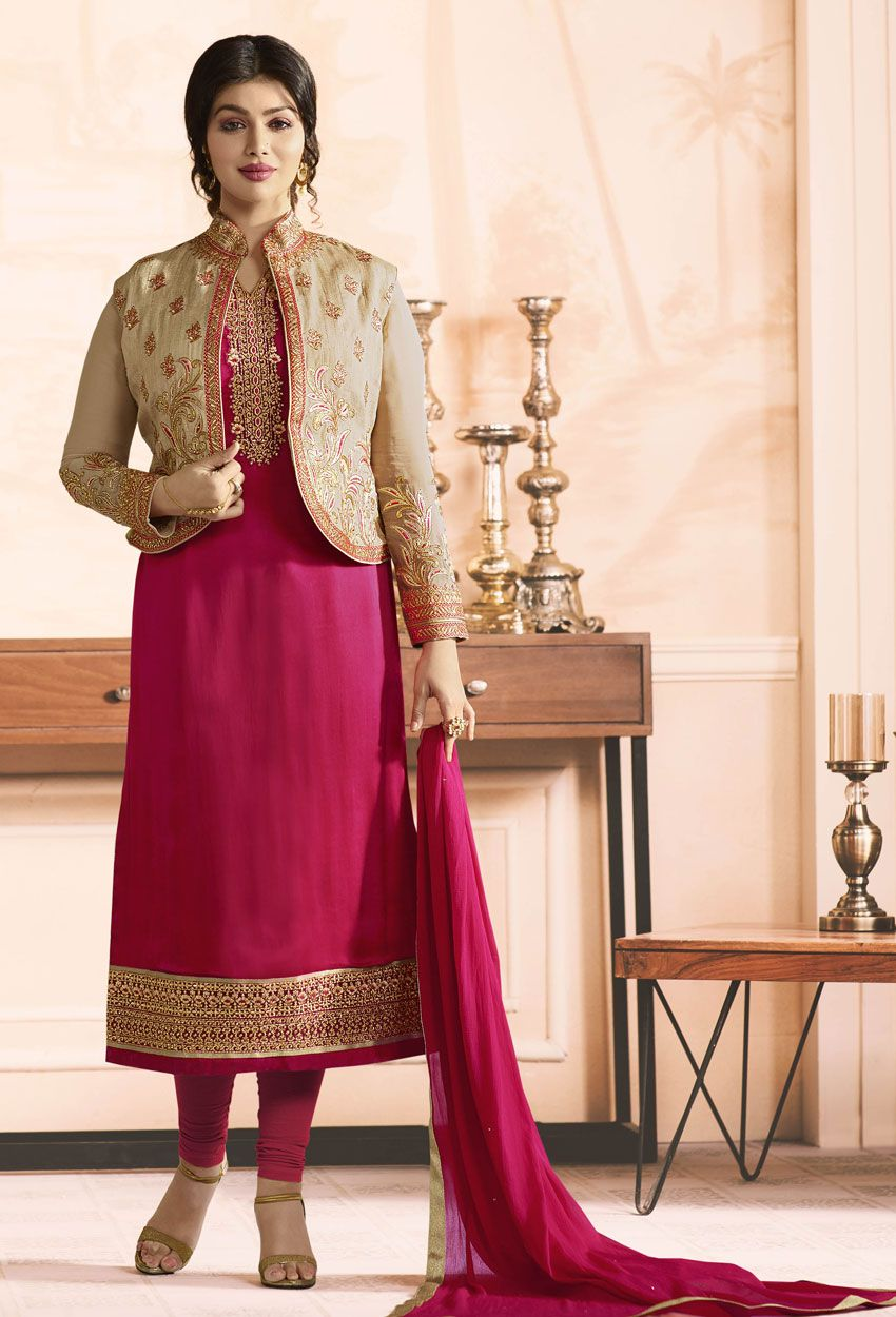 762aff2d1f Shop ayesha takia in pink georgette straight suit with jacket ,  freeshipping all over the world , Item code skdeae51