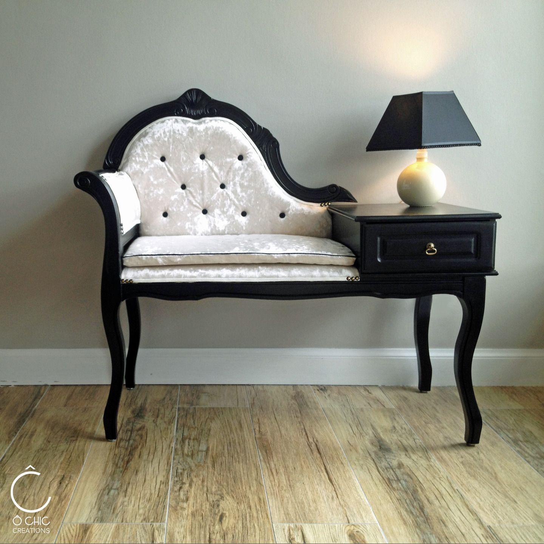 petite banquette double jeu capitonn e noire et beige meubles et rangements par o chic. Black Bedroom Furniture Sets. Home Design Ideas