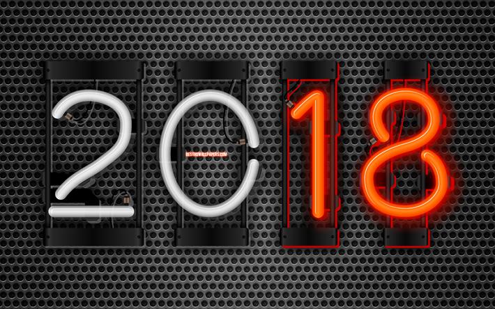 Lataa kuva 4k, Vuonna 2018, art, neon numeroa, metalliverkolla, 2018, Uusi Vuosi 2018, luova