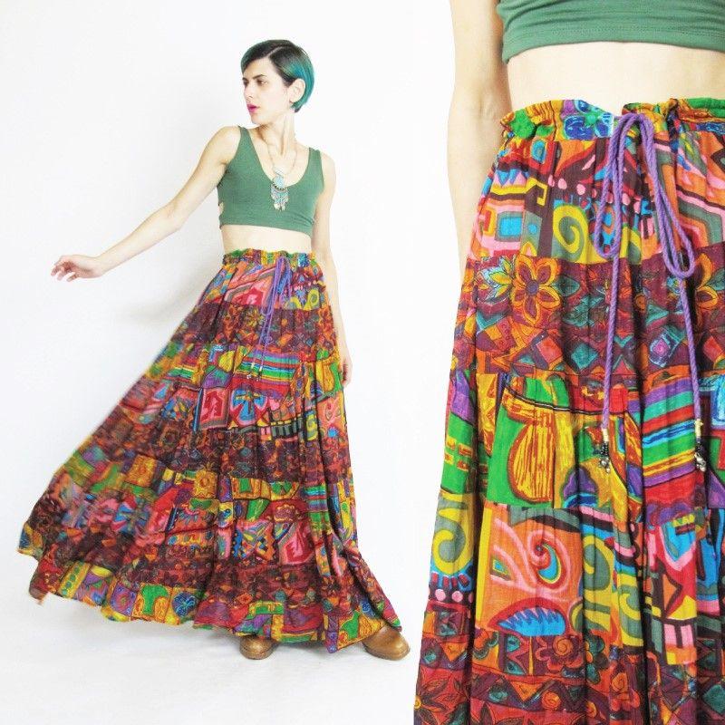 79858c6c852 Vintage Boho Gauze Cotton Maxi Skirt (L XL) C 65.00