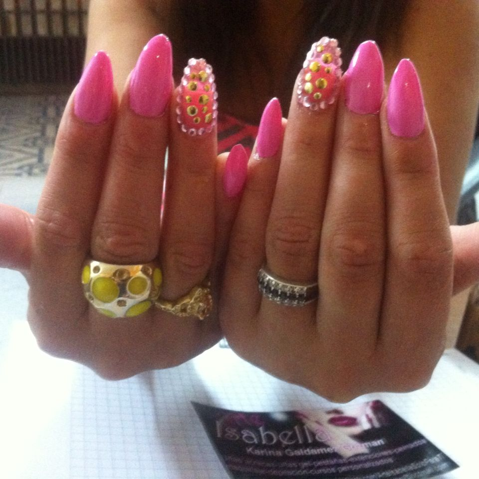 Almond nails fuxia | nails | Pinterest | Almond nails