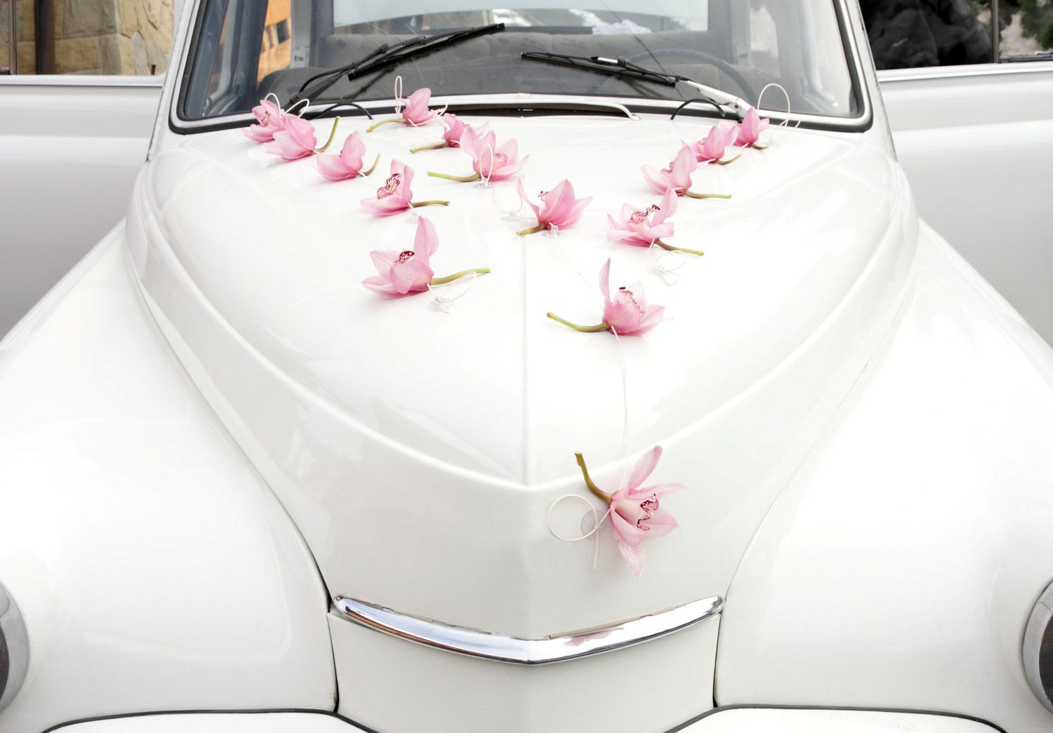 Single Flowers Wedding Car Decoration Silk Orchids Real Touch