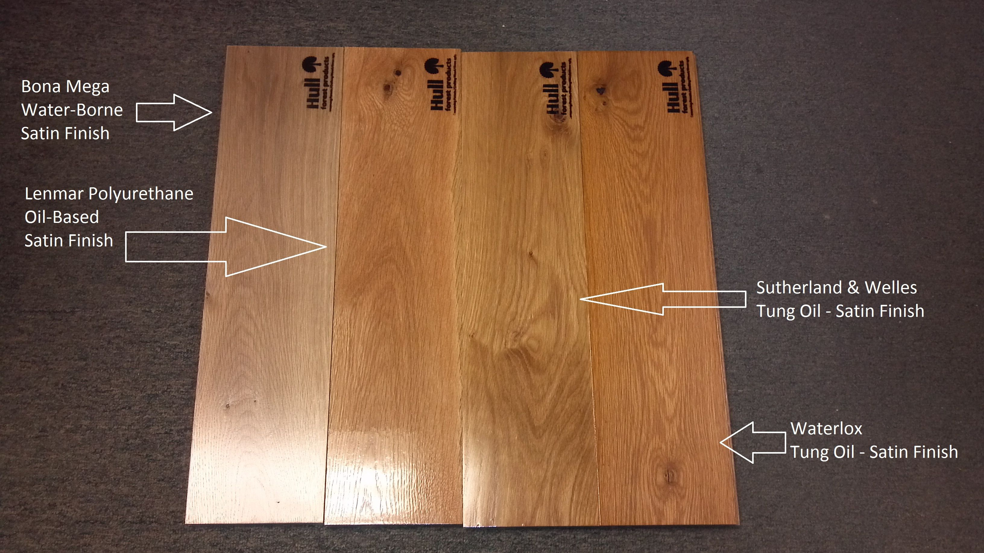 White Oak Floor Boards Labeled With Different Finishes