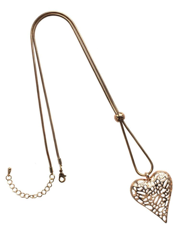 Rose Gold Colour Filigree Heart Pendant and Long Costume Jewellery