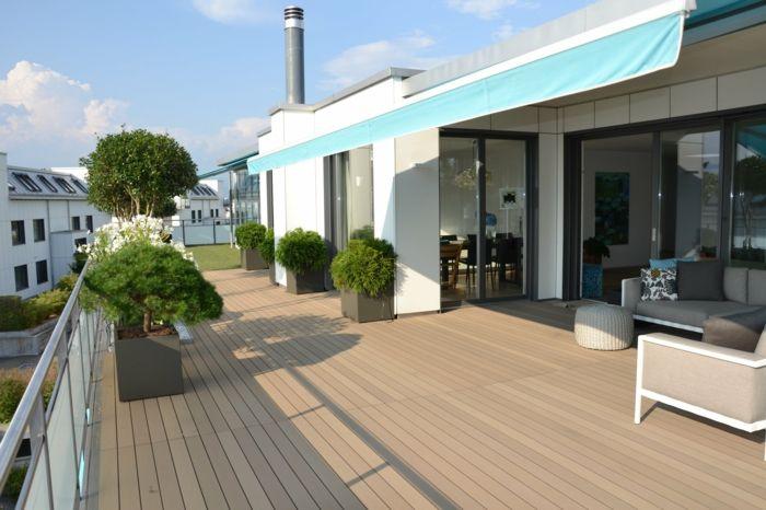 Terrasse Gestalten Idee Für Große Terrasse Grüne Pflanzen Sofa ... Balkonturen Modelle Terrasse Veranda