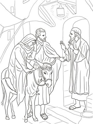 No Room at the Inn for Mary and Joseph | Catholic Kids Coloring ...