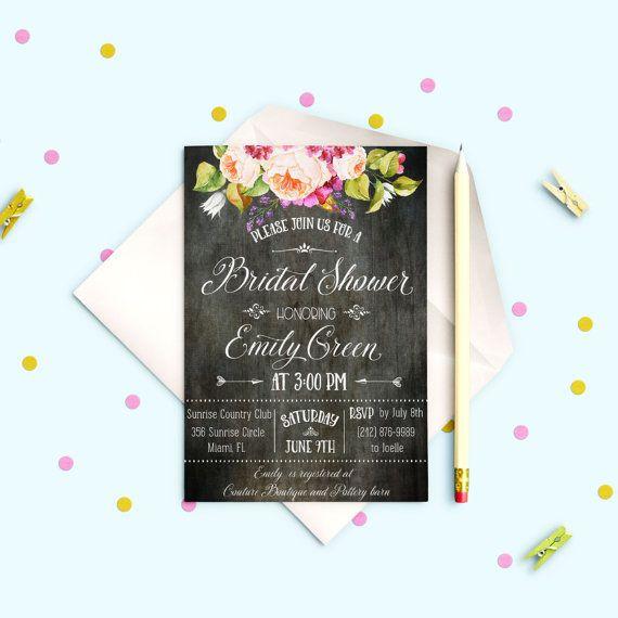 Printable Bridal Shower invitation Roses Bridal by AlniPrints #Bachelorette #Bridal #Shower #Invitation #brunch #idea #invite #Lingerie #party #dinner