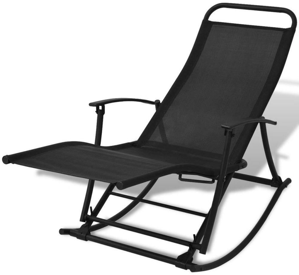 Fine Vidaxl Foldable Garden Rocking Chair Black Garden Rocking Dailytribune Chair Design For Home Dailytribuneorg