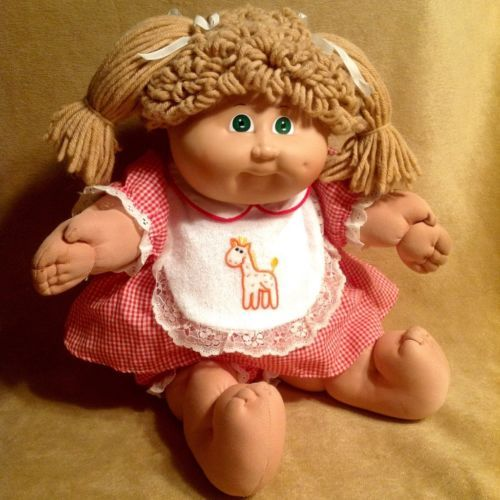 Vintage 1983 Coleco Cabbage Patch Kid Doll Black Signature Poodle Giraffe Bib Cabbage Patch Dolls Vintage Cabbage Patch Dolls Cabbage Patch Kids Dolls