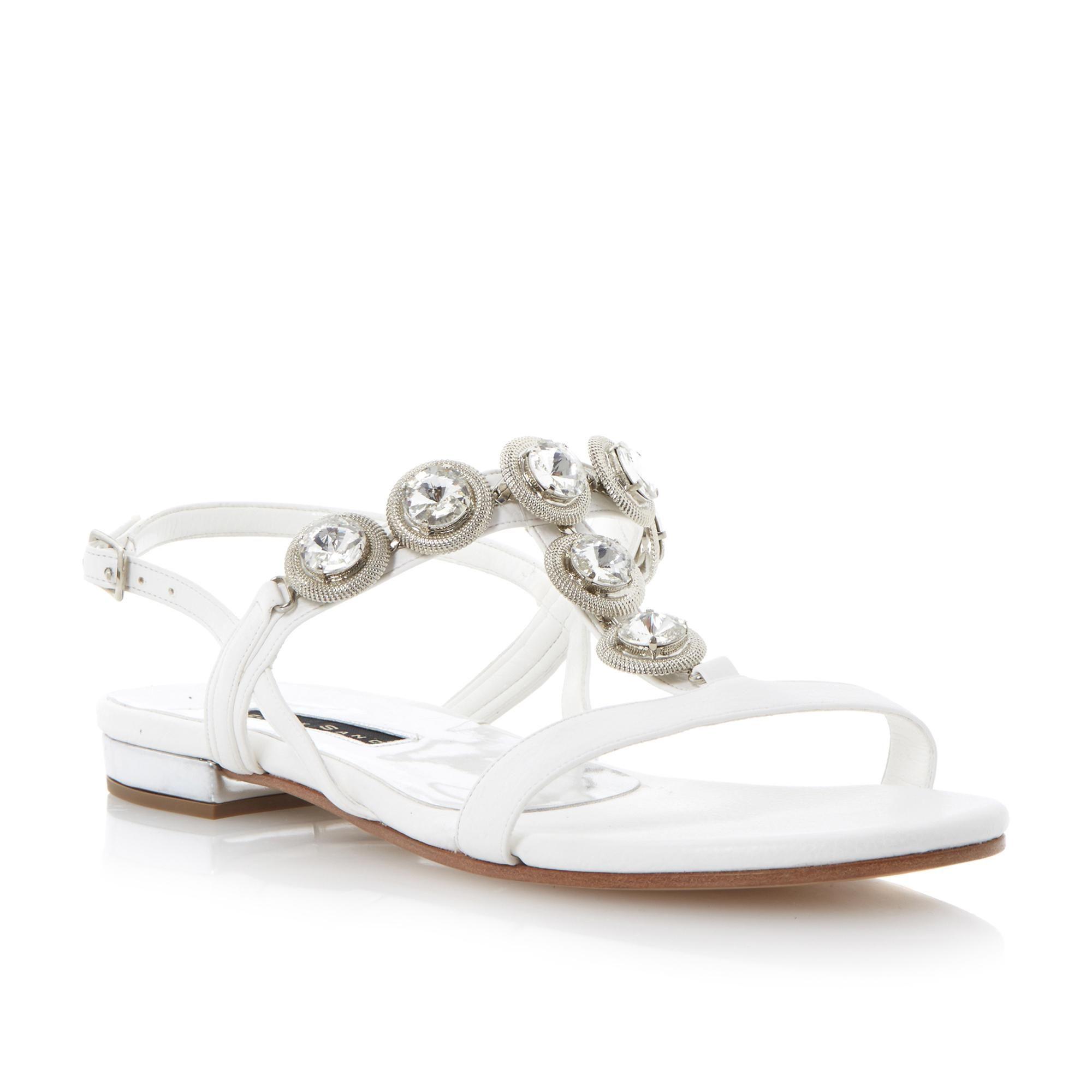 DUNE LADIES LUSTRE Black Sand T Bar Jewelled Sandal white