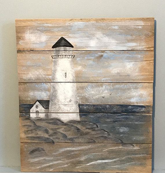 10 Reclaimed Pallet Wood Rustic Board Lumber: Rustic Pallet Wood Light House Painting