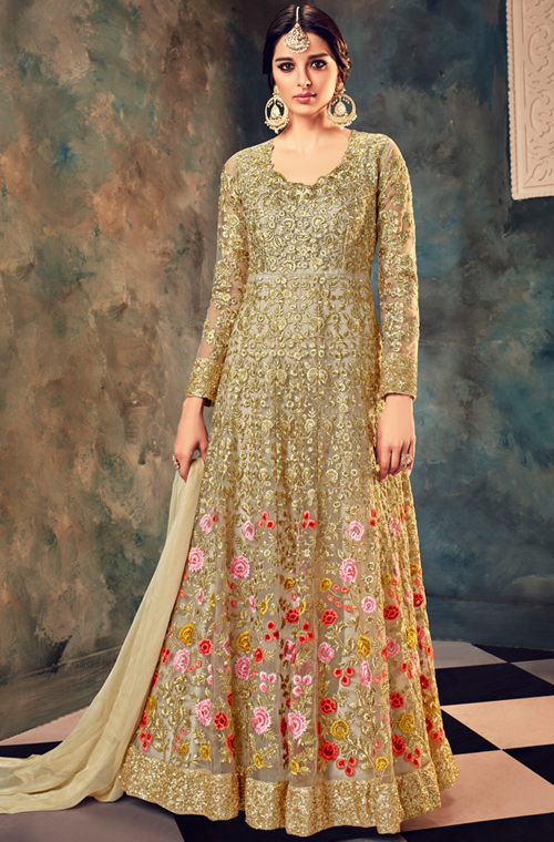 09c42072df0 Gold Designer Heavy Embroidered Net Wedding   Bridal Anarkali Suit ...