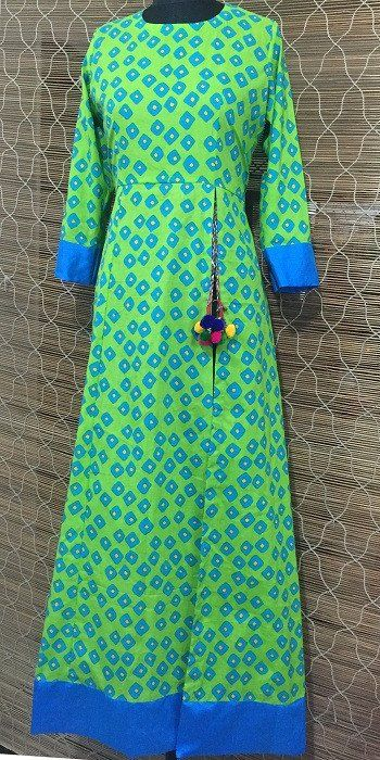 Not so blue front side slit floor length kurti with for Floor length kurti