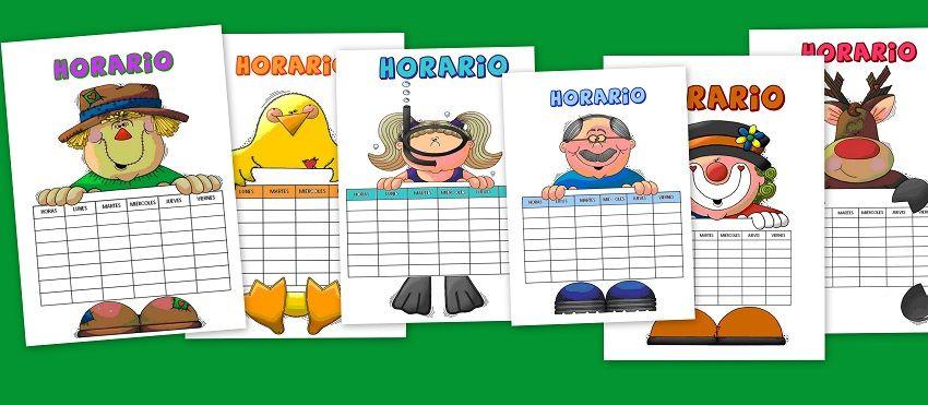 Horarios Infantiles Para Clase Escuela En La Nube Horario Para Ninos Horarios Para Imprimir Horario