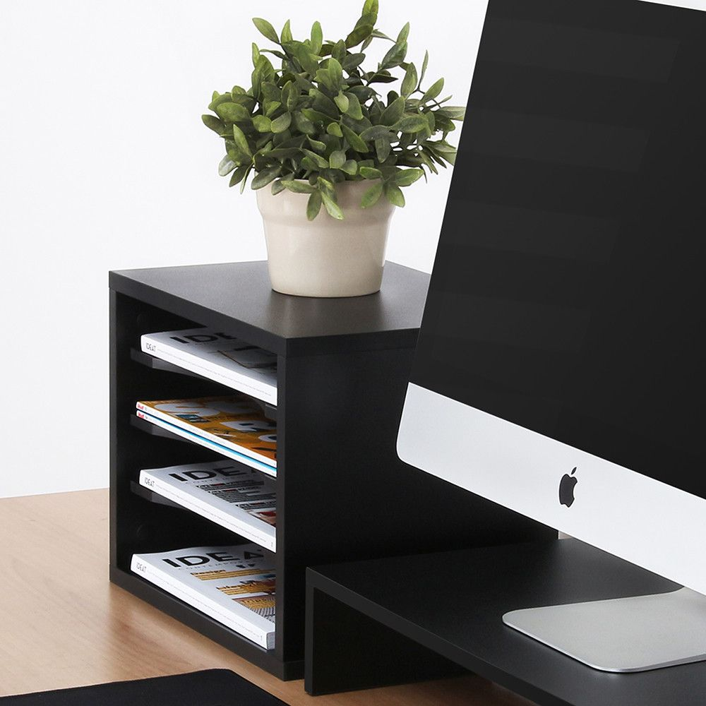 Fitueyes Wood Desk Organizers Vintage File Sorter Tiered Paper Storage Office Shelf Supply Holder Black Home Printer Stands Do403501wb