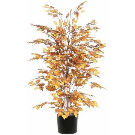 Vickerman 4' Artificial Golden Birch Extra Full Set in Black Pot, Gold