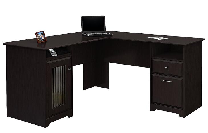 bush furniture cabot l shaped desk with hutch in espresso oak rh ekenasfiber johnhenriksson se