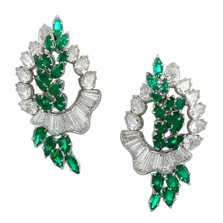 1960s harry winston diamond and emerald pair of pins for Harry winston jewelry pinterest