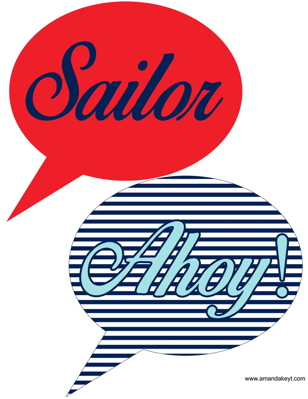 Speech Bubbles from Nautical Red Printable Photo Booth Prop Set ...
