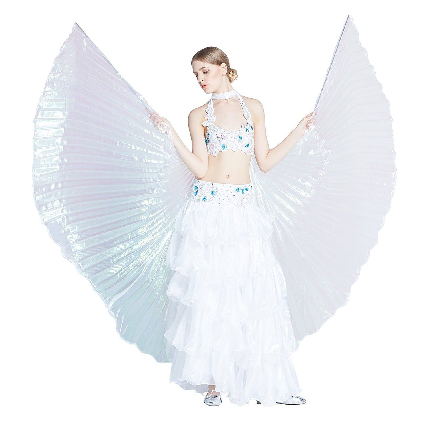 Dance Fairy Belly Dance White Colorful Yarn Iridescent Isis Wings