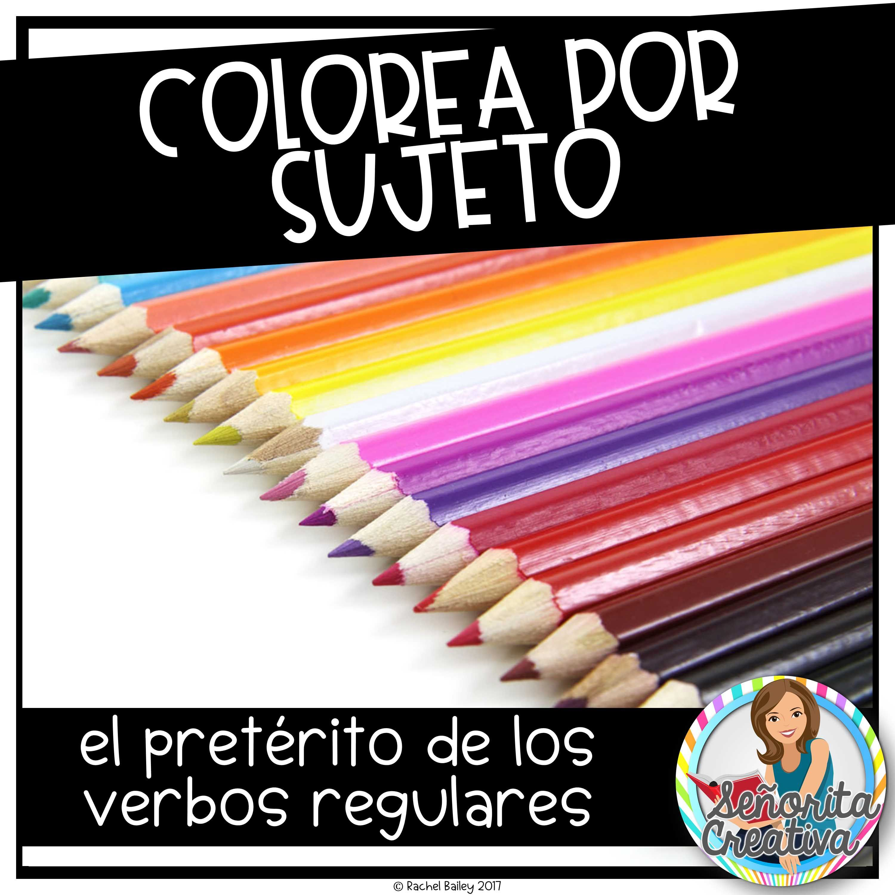 Spanish Color By Subject For Regular Preterite Verbs